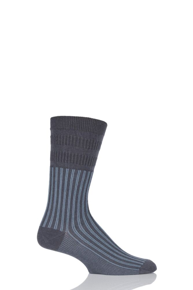 Mens 1 Pair HJ Hall Jester Striped Softop Socks
