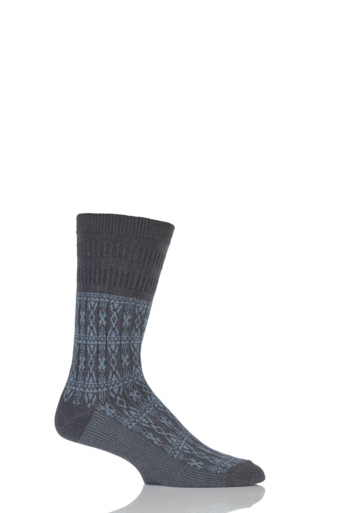 Mens 1 Pair HJ Hall Aztec Design Softop Socks