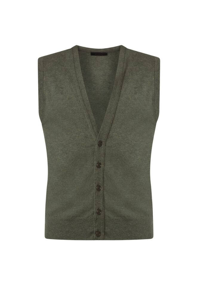 Mens Great & British Knitwear 100% Lambswool V Neck Waistcoat