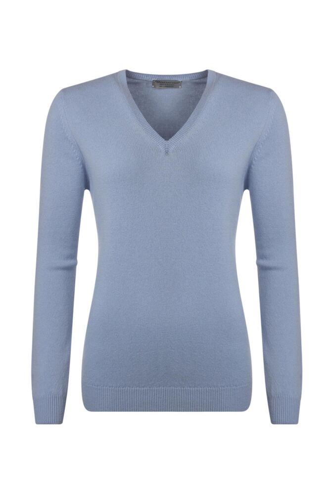 Ladies Great & British Knitwear 100% Lambswool Plain V Neck Jumper