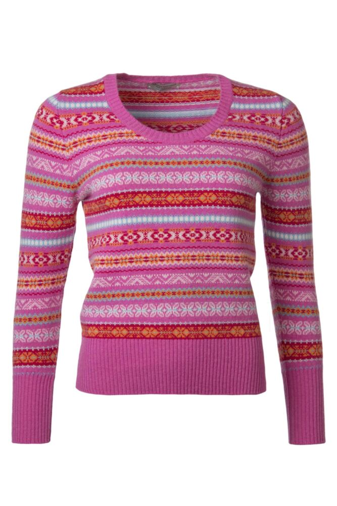 Ladies Great & British Knitwear 100% Lambswool Scoop Neck Fairisle Jumper