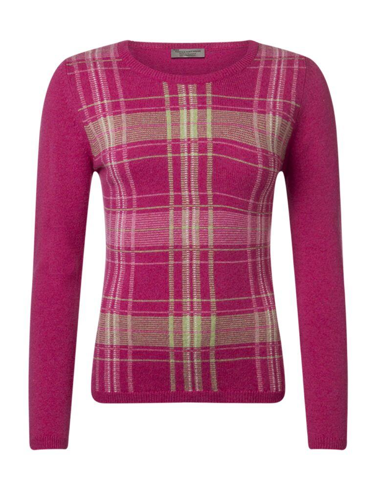 Ladies Great & British Knitwear 100% Lambswool Tartan Jumper