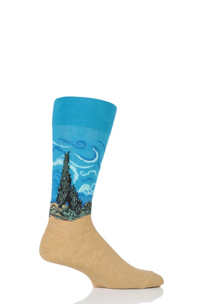 Mens 1 Pair HotSox Artist Collection A Wheatfield with Cypresses Cotton Sock
