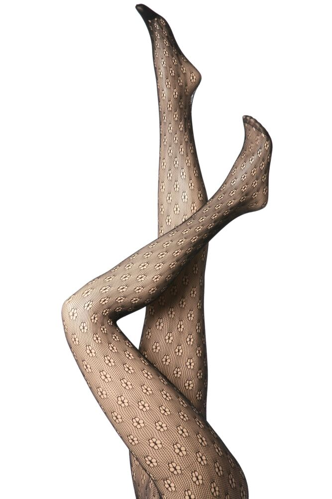 Ladies 1 Pair Elle Daisy Patterned Net Tights 33% Off