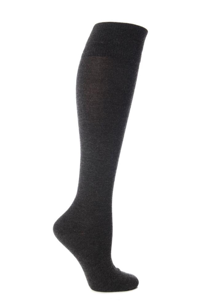 Ladies 1 Pair Elle Wool and Viscose Plain Knee High Socks