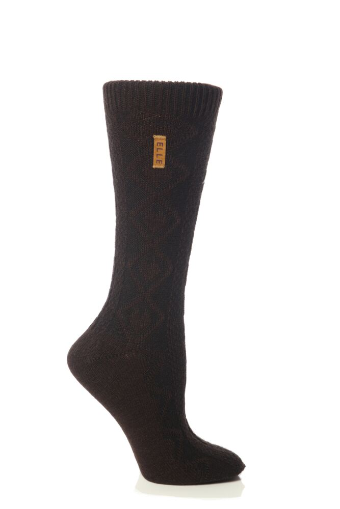 Ladies 1 Pair Elle Cable Knitted Wool Mix TOT Boot Socks