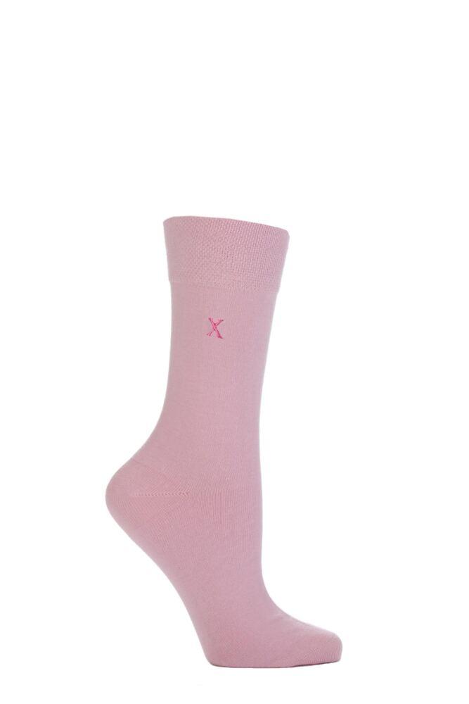 Ladies 1 Pair SockShop Individual Pink Embroidered Initial Socks