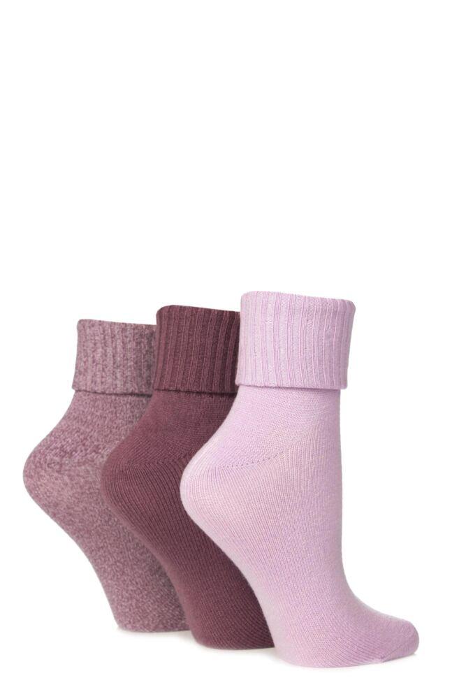 Ladies 3 Pair Jennifer Anderton Plain Pastel Super Soft Turn Over Top Socks