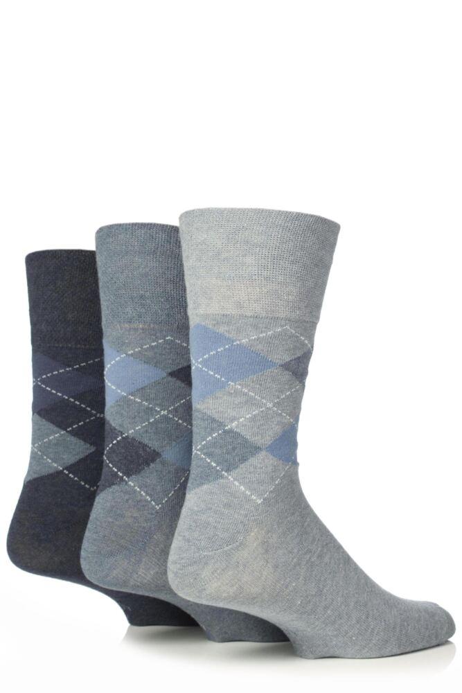 Mens 3 Pair Gentle Grip Argyle Mix Socks