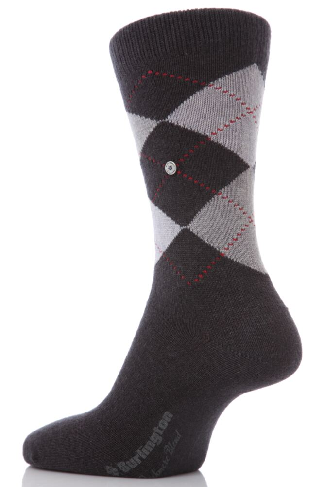 Mens 1 Pair Burlington St. Andrews Argyle Cashmere Socks