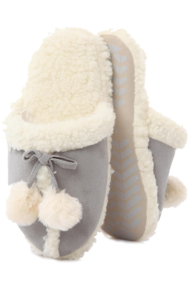 Ladies 1 Pair Totes Pom Pom Sheep Skin Effect Mule Style Slippers
