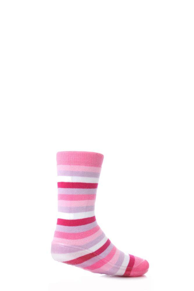 Girls 1 Pair SockShop Striped Gripper Slipper Socks 25% OFF This Style