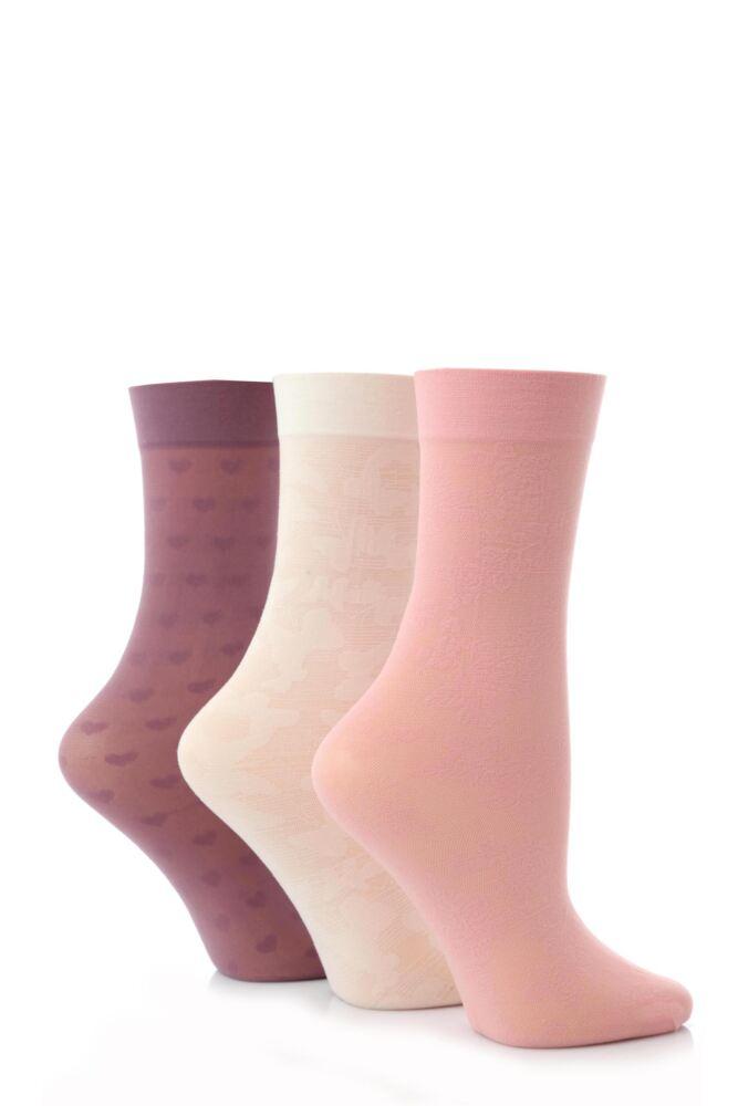 Ladies 3 Pair Elle Patterned Ankle High Socks