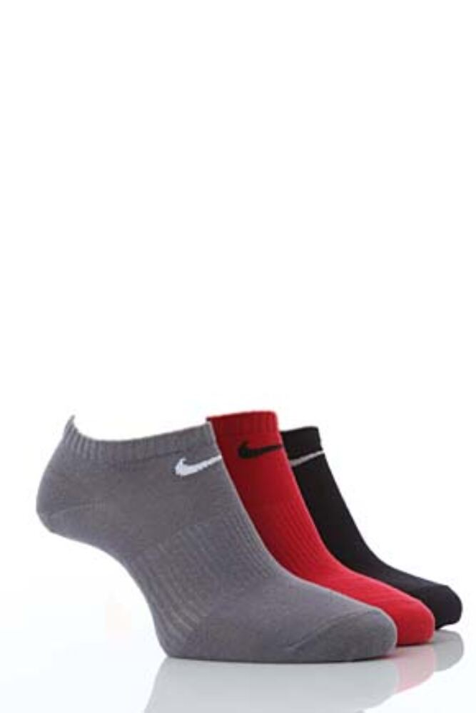 Mens and Ladies 3 Pair Nike Cotton Non-Cushioned No-Show Trainer Socks In 4 Colours