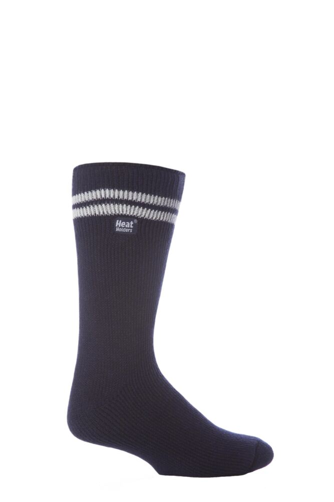 Mens 1 Pair Heat Holders For Football Fans Socks In Navy and White