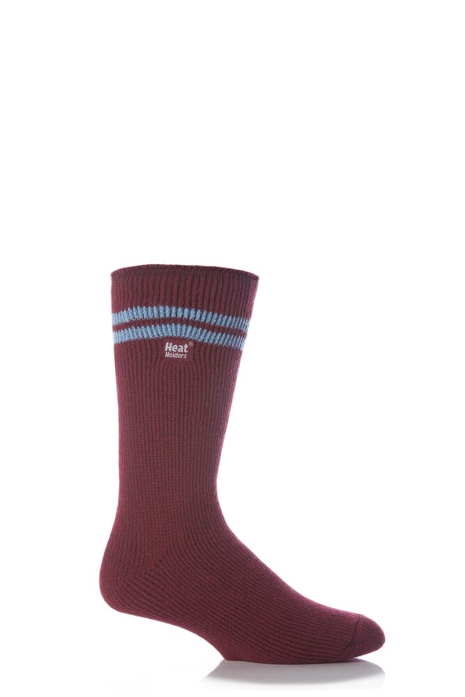 Mens 1 Pair Heat Holders For Football Fans Socks In Claret and Blue