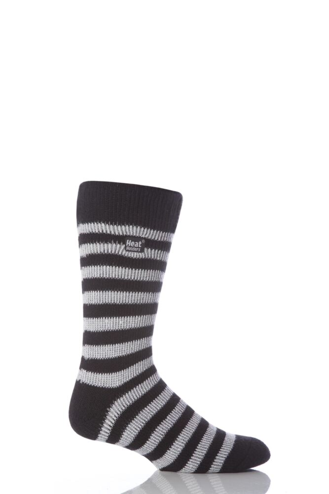 Mens 1 Pair Heat Holders For Football Fans Socks In Black and White