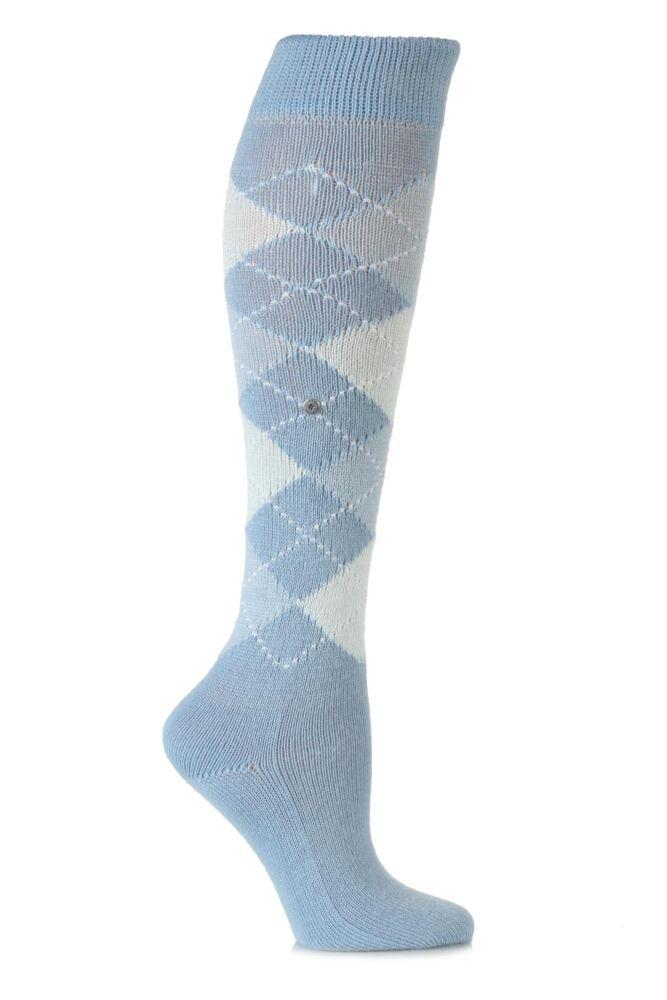 Ladies 1 Pair Burlington Whitby Extra Soft Argyle Knee High Socks