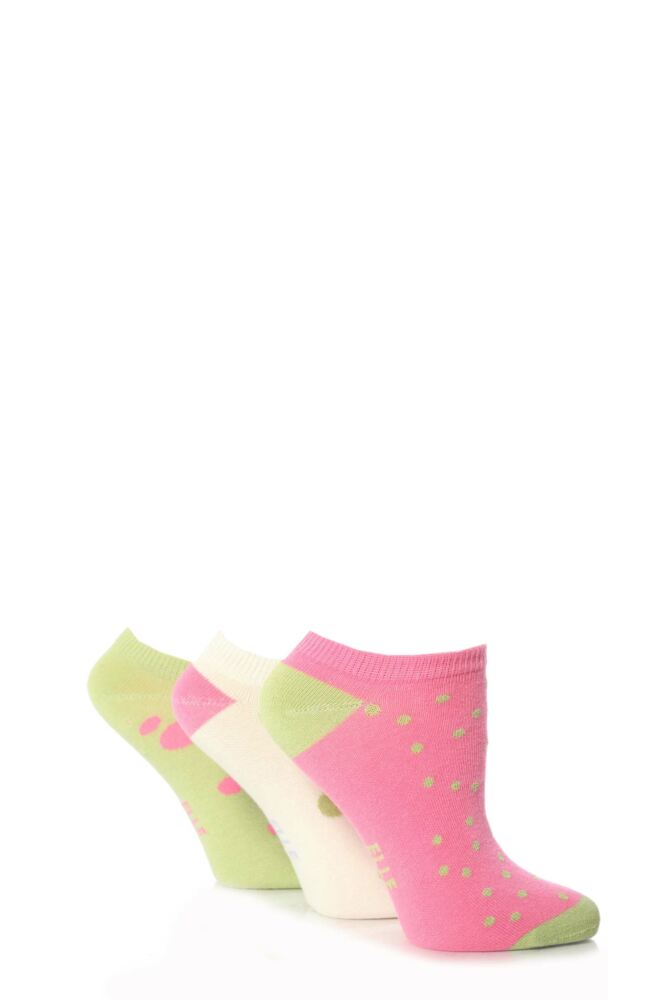 Girls 3 Pair Young Elle Lime Spotted Trainer Socks 50% OFF