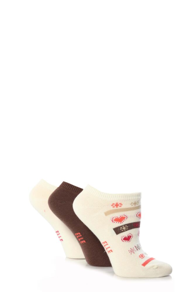 Girls 3 Pair Young Elle Stone Hearts and Stripe Trainer Socks