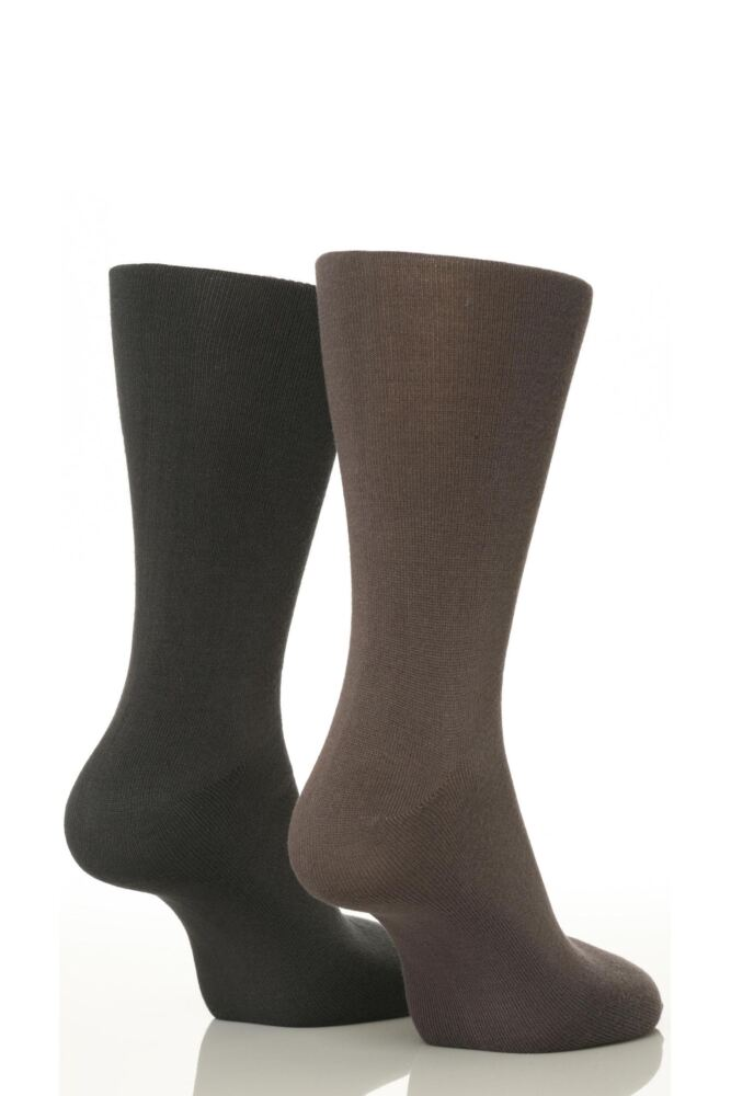 Mens 2 Pair SockShop Plain Bamboo Socks