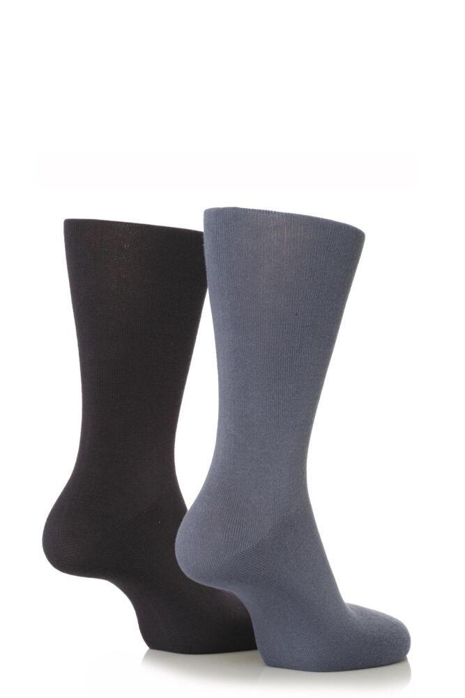 Mens 2 Pair SockShop Plain Bamboo Socks