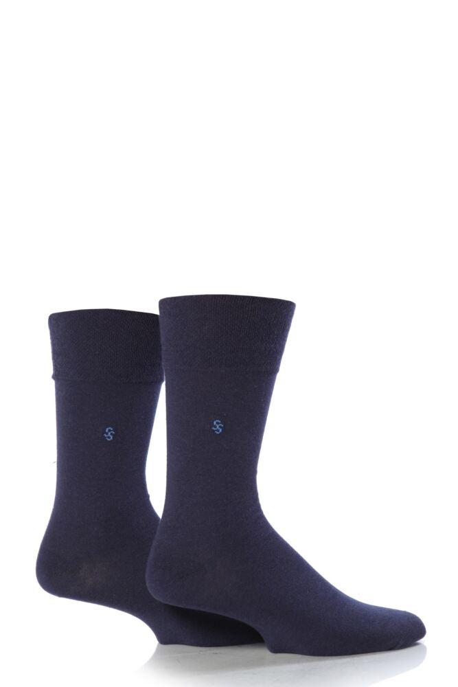 Mens 2 Pair SockShop Plain Comfort Cuff Socks