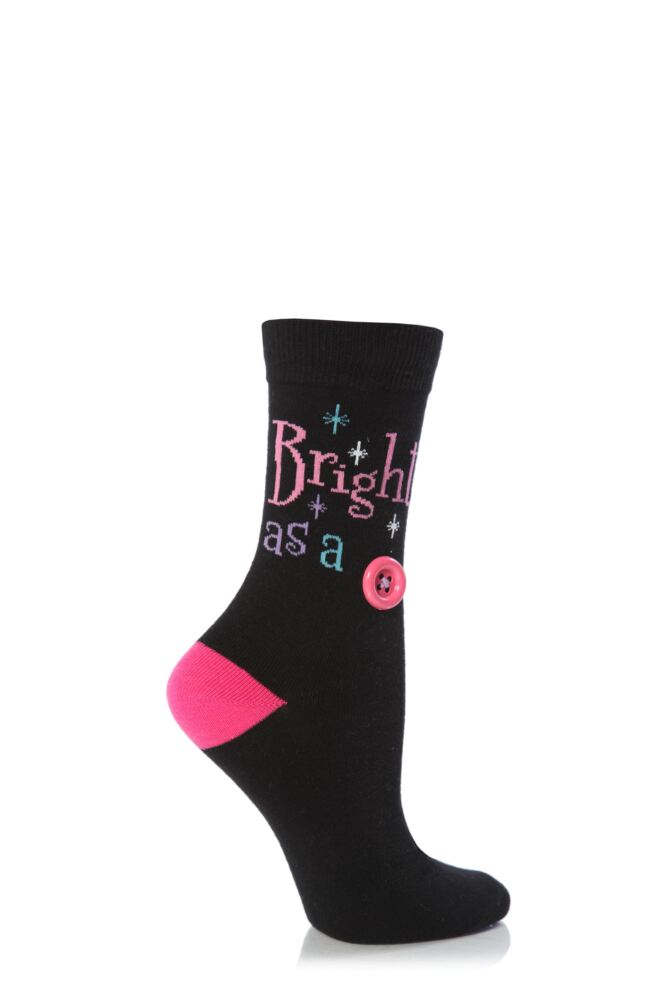 Ladies 1 Pair SockShop Dare To Wear Bright As A Button Socks