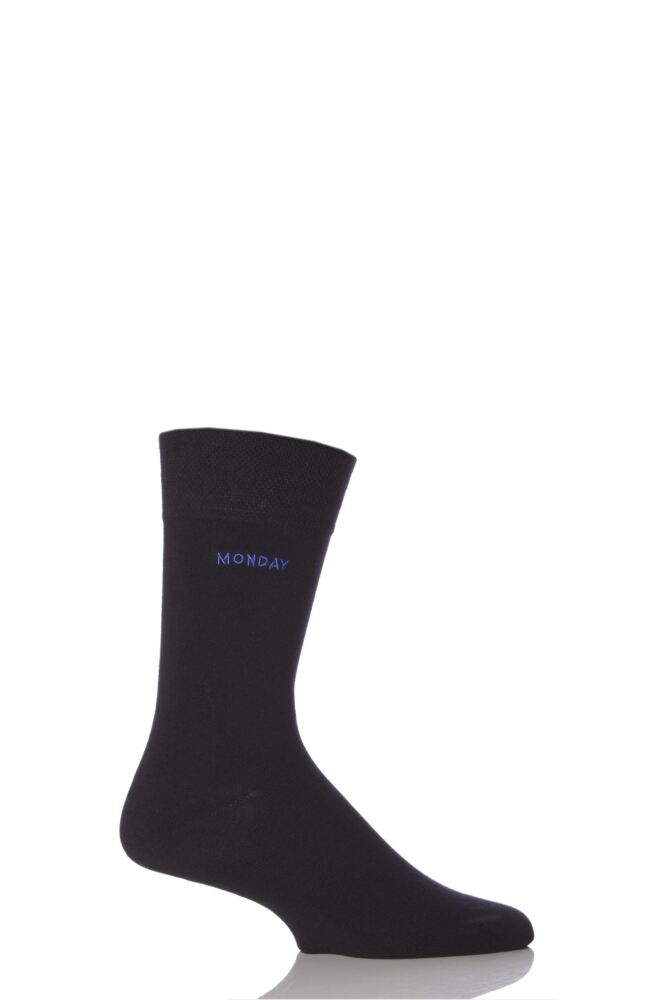 Mens 1 Pair SockShop Individual Days Of The Week Black Embroidered Socks