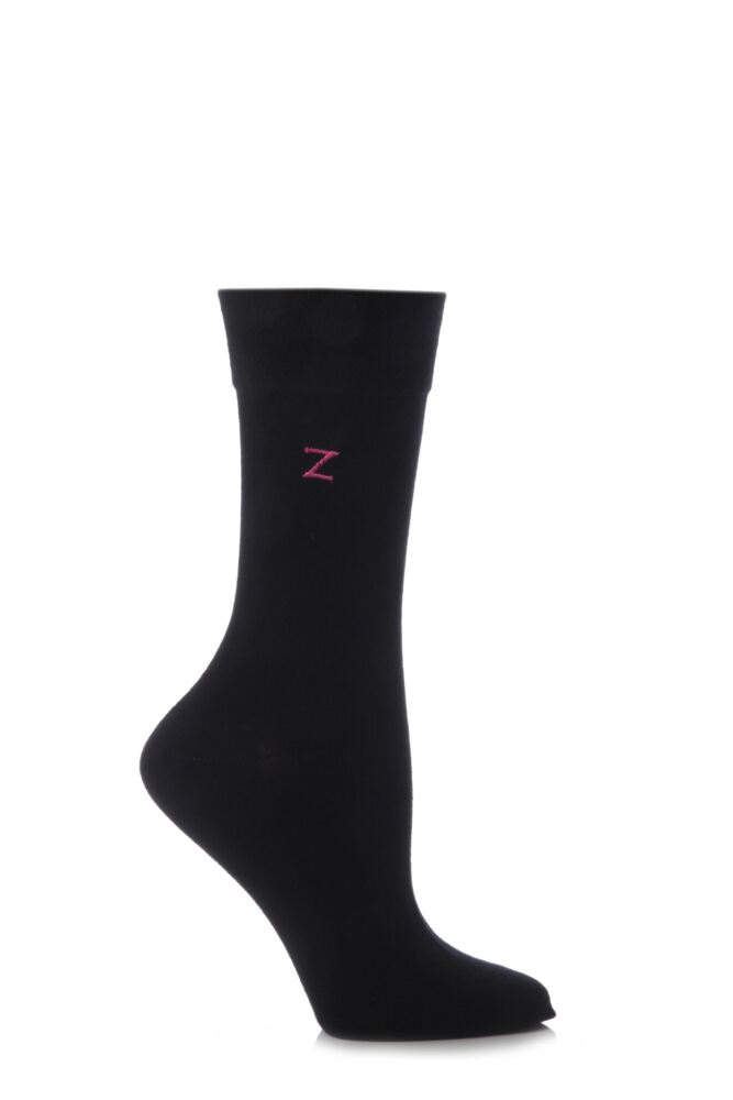 Ladies 1 Pair SockShop Individual Black Embroidered Initial Socks - 26 To Choose From