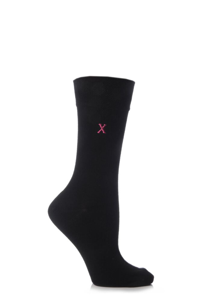Ladies 1 Pair SockShop Individual Black Embroidered Initial Socks - 26 To Choose From