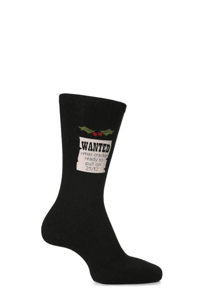 Mens 1 Pair SockShop Christmas Dare To Wear - Wanted Xmas Cracker