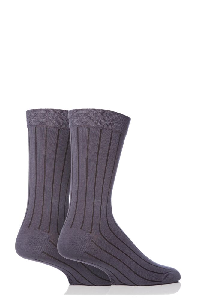 Mens 2 Pair SockShop Ribbed Bamboo Socks