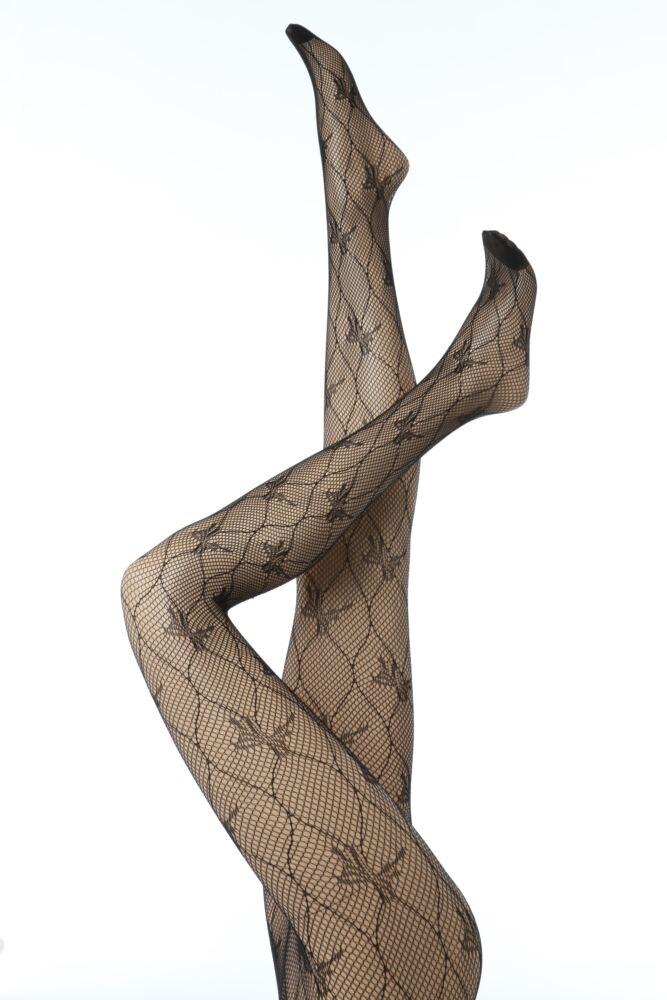 Ladies 1 Pair Elle Bow Pattern Fishnet Tights