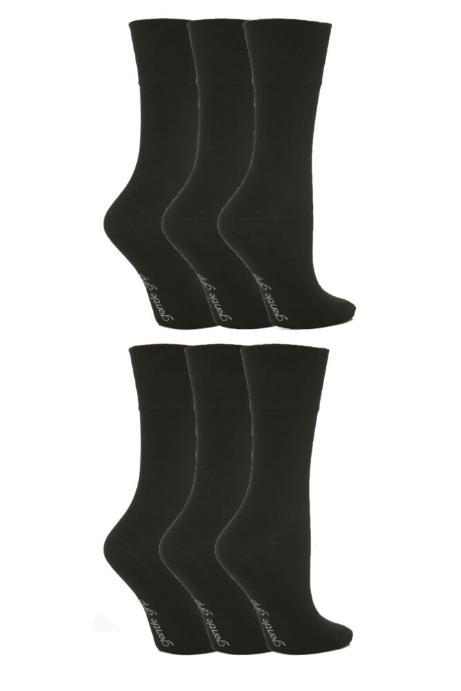 Ladies 6 Pair SockShop Comfort Cuff Plain Black Socks 4-8