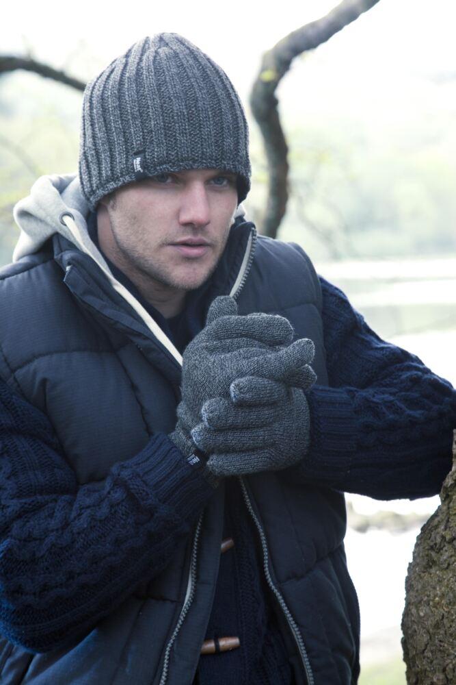 Mens 1 Pair Heat Holders 2.3 Tog Heatweaver Yarn Gloves In Charcoal