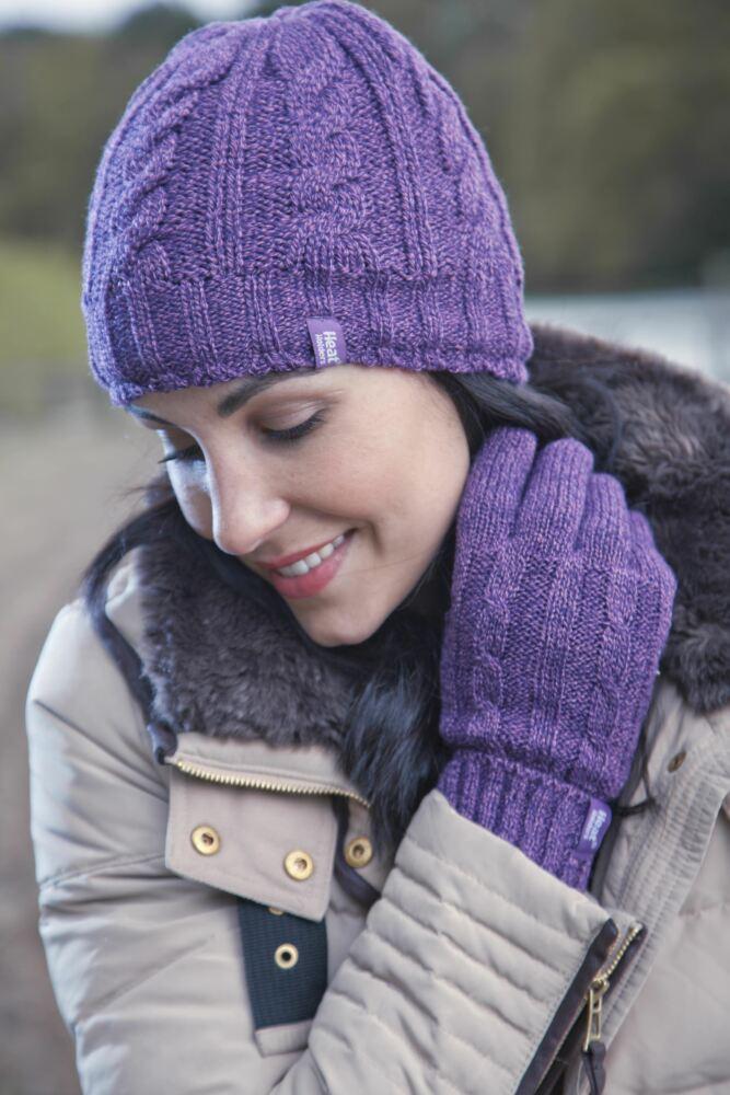 Ladies 1 Pack Heat Holders 3.4 Tog Heatweaver Yarn Hat In Purple