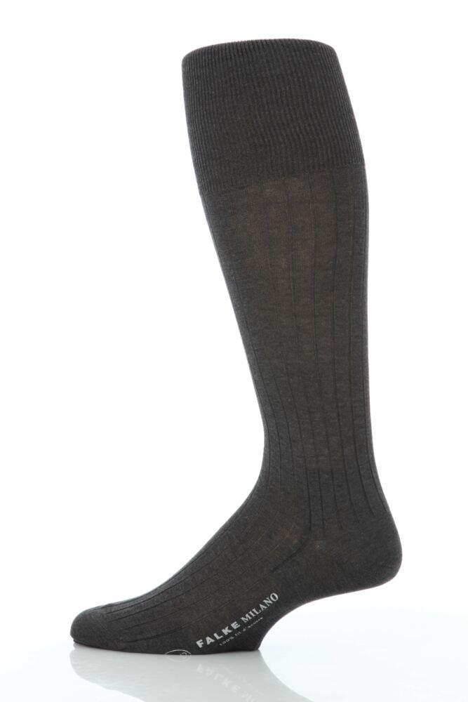 Mens 1 Pair Falke Milano 100% Cotton Knee High Socks In 4 Colours