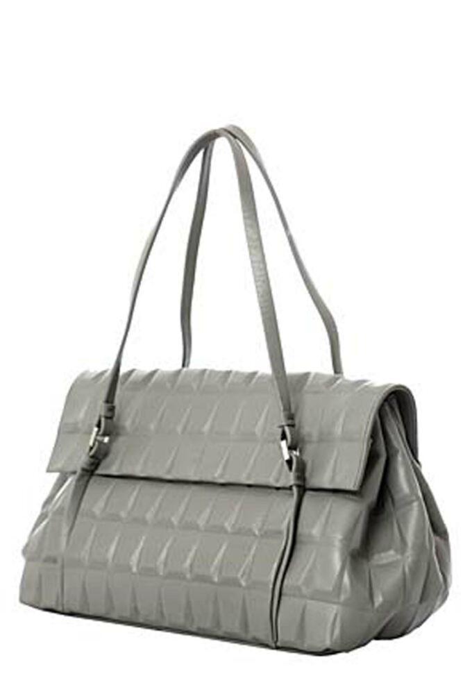 Ladies Calvin Klein Jeans Geometrical Design Leather Satchel - Sale