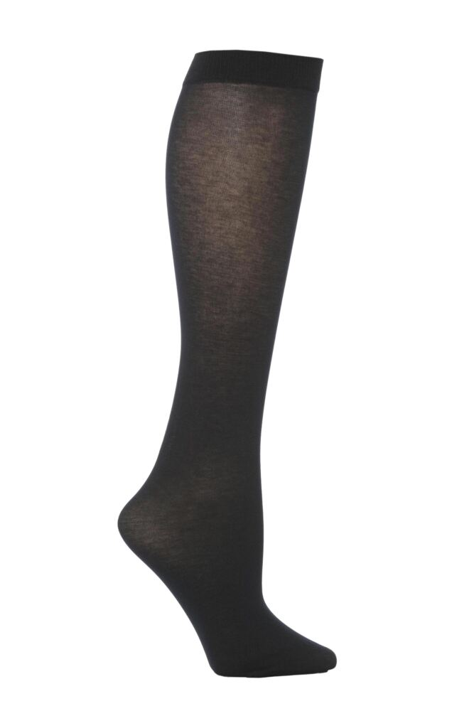 Ladies 1 Pair Trasparenze Liscio Plain Cotton Knee High Socks