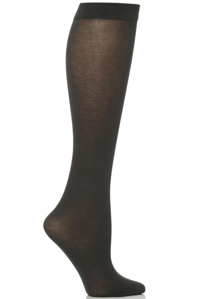 Ladies 1 Pair Trasparenze Liscio Plain Cotton Knee High Socks In 6 Colours