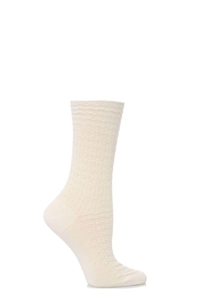 Ladies 1 Pair Levante 100% Cotton Textured Socks
