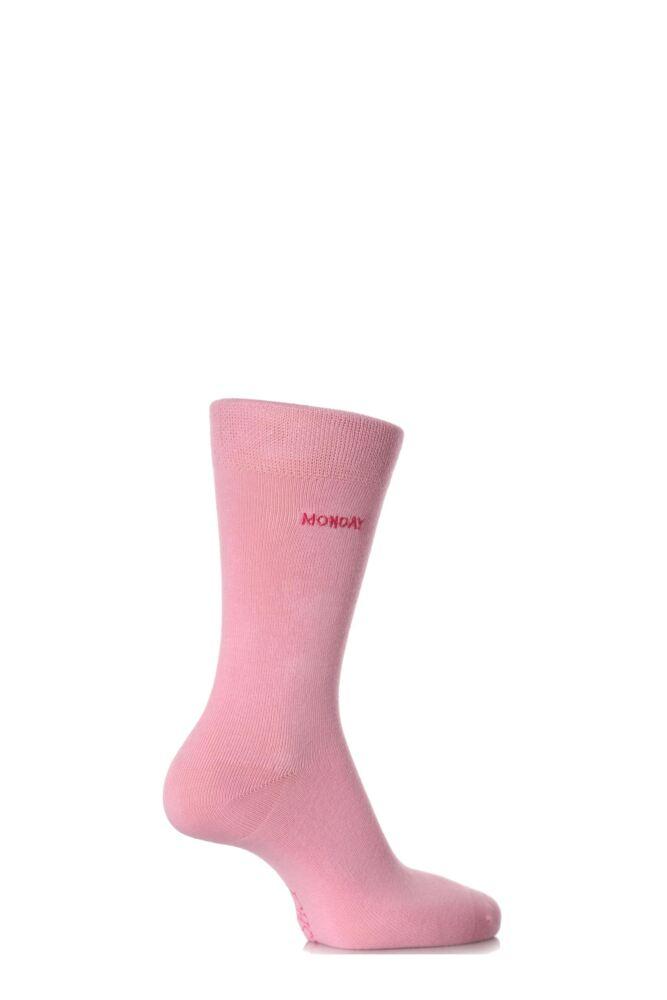 Ladies 1 Pair SockShop Individual Days Of The Week Pink Embroidered Socks