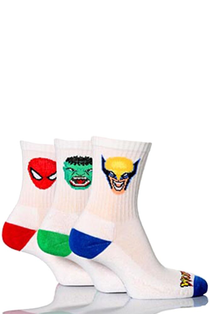 Boys 3 Pairs Marvel Heroes White Sports Socks - Hulk, Spider-Man and Wolverine