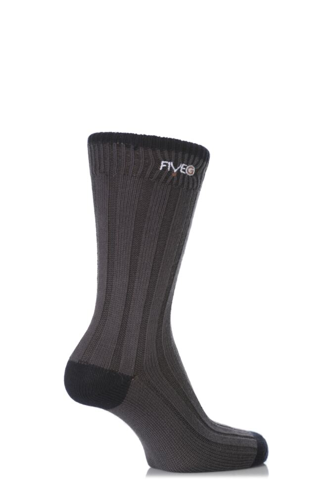 Mens 2 Pair FiveG Wide Rib Contrast Heel and Toe Socks made with Fairtrade Cotton