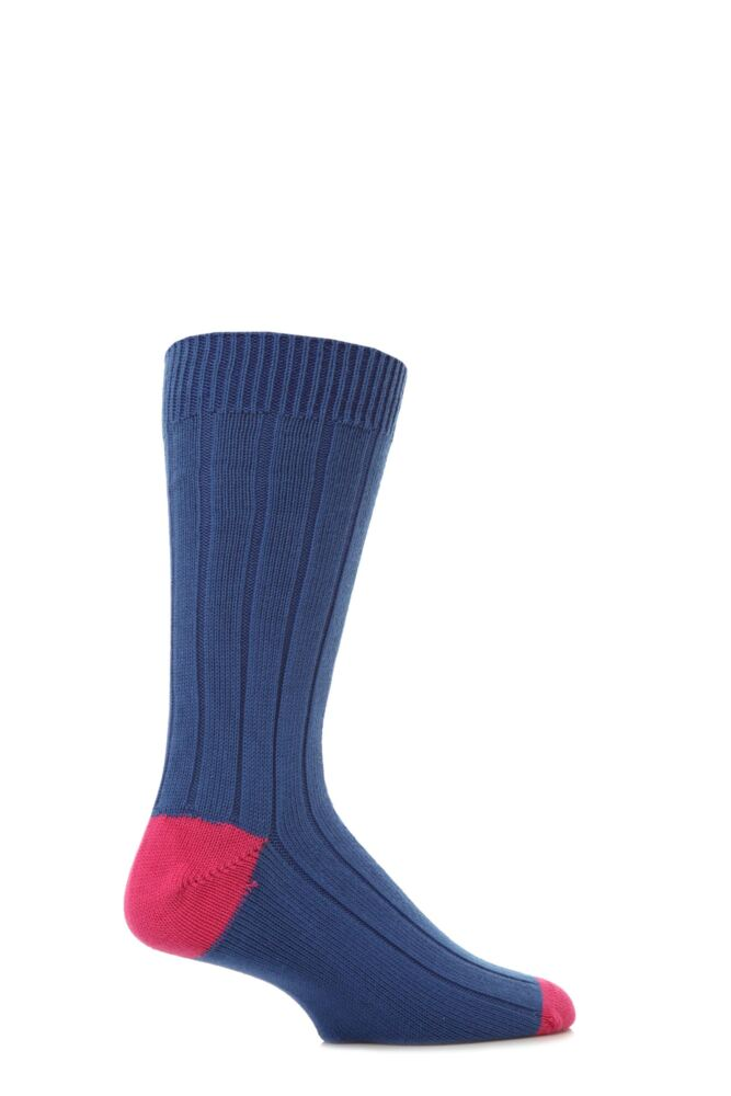 Mens 1 Pair Scott Nichol Cotton Rib With Contrast Heel And Toe Socks