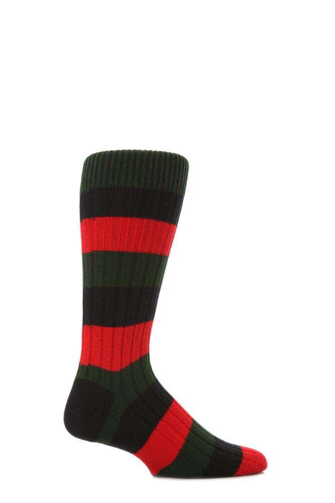 Mens 1 Pair Scott Nichol Cotton Rib Block Stripe Socks