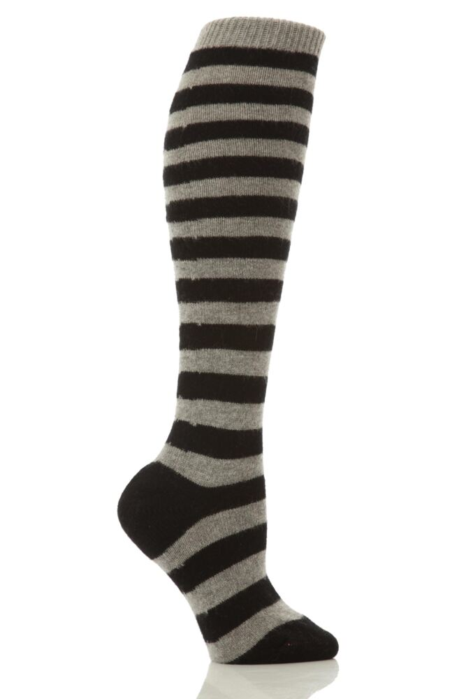 Ladies 1 Pair Pantherella 85% Cashmere Striped Knee High Socks