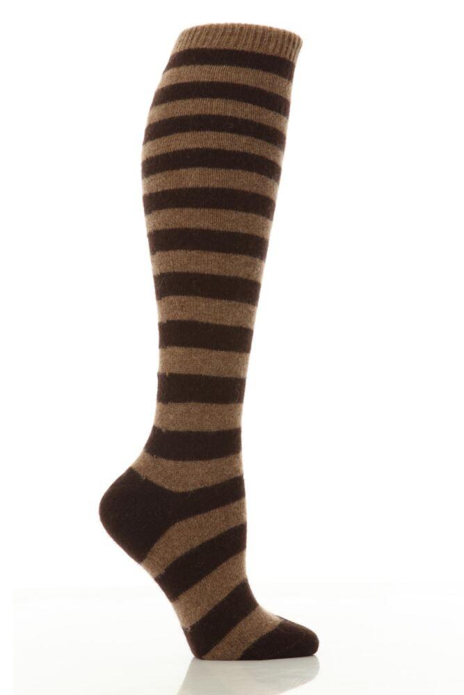 Ladies 1 Pair Pantherella 85% Cashmere Striped Knee High Socks