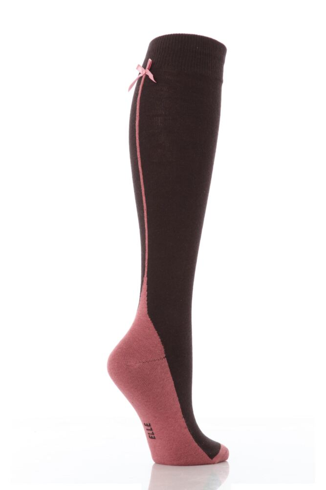 Ladies 1 Pair Elle Back Seam and Bow Knee High Socks